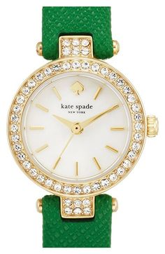 Free shipping and returns on kate spade new york 'tiny metro' crystal bezel leather strap watch, 20mm at Nordstrom.com. Brilliant crystals illuminate the neat round case of this dainty leather-strap watch centered with a radiant mother-of-pearl dial.