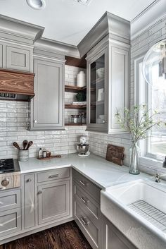 designing kitchen cabinets faucets bronze 15 stunning gray kitchens pinterest grey door style cabinet flat panel shaker with inner slight round over detail love the open corner shelving