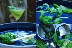 CUCUMBER LIME BASIL MARTINI:     8 fresh basil leaves;  1 half lime;  2 oz. / 2 shots cucumber vodka;  ¾ oz. / ¾ shot simple syrup;  Crushed ice