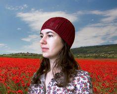 Slouchy Women's Beanie Cherry Crochet Hat - Maroon Crochet Ears Filet Hat - Hair Coverage - Tunusian Crochet Women's Beanie Cap For Summer