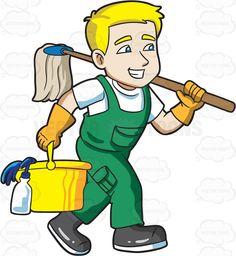 A janitor on his way to clean a floor #cartoon #clipart #vector #vectortoons #stockimage #stockart #art