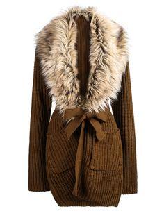 #SALE Khaki Long Sleeve Faux Fur Lapel Cardigan Sweater Shop the #SALE at #Sheinside