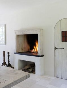 My dream home features a kitchen fireplace that looks like this. Build A Fireplace, Fireplace Design, Fireplace In Kitchen, Open Fireplace, Fireplace Shelves, Concrete Fireplace, Home Design, Design Ideas, Home Living