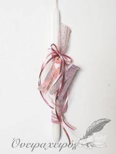Λαμπάδα για κοριτσάκι με μονόγραμμα Μ με glitter Plant Hanger, Glitter, Decor, Decoration, Decorating, Sequins, Deco, Glow