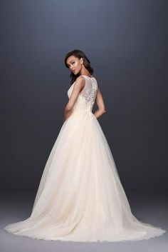 c607baacf2 Appliqued Glitter Tulle A-Line Wedding Dress WG3930 V Neck Wedding Dress