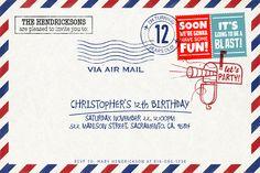 Letter Envelope, Party invitation for instant download at #etsy shop 'Ideas2Print' #partyprintables #party #artsncrafts #digital #digitaldownload #instantdownload #freelance #illustrator #hugoherrera #artparty #postal #oldstamp #postage #etsyshop #mailbox