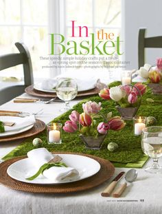 Cut a section of artificial grass or a grassy material and use as a table runner.
