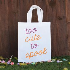 """Your little ghoul or goblin's precious candy will never get into the wrong hands with Stamp Out's distinctive Trick or Treat Bags. Made of sturdy polyester; use it year after year. Size: 10.25"""" x 12.2"""