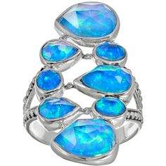 Lab-Created Blue Opal Sterling Silver Geometric Ring ($110) ❤ liked on Polyvore featuring jewelry, rings, blue, oval opal ring, geometric rings, sterling silver rings, opal rings and bezel ring