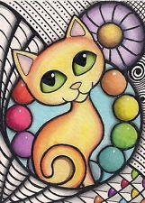 ACEO - Orange Cat in Pen & Ink Design With Rainbow  - Original Art