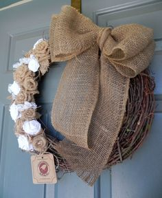 Burlap on Grapevine Wreath with Large Burlap Bow