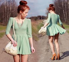Lace bag & mint dress (by Wioletta Mary Kate) http://lookbook.nu/look/3352625-lace-bag-mint-dress