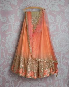 The Stylish And Elegant Lehenga Choli In Peach Colour Looks Stunning And Gorgeous With Trendy And Fashionable Embroidery .The Net Fabric Party Wear Lehenga Choli Looks Extremely Attractive And Can A. Cotton Lehenga, Net Lehenga, Bridal Lehenga Choli, Indian Lehenga, Ghagra Choli, Anarkali Dress, Gown Dress, Latest Designer Sarees, Indian Designer Outfits
