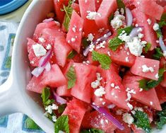 Watermelon Salad With Mint and Lime: A great summer salad to rehydrate and relax with a chilled bottle of Riesling or sparkling cider.