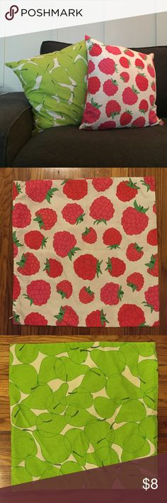 "Fruity Cushion Covers Two canvas cushion covers, raspberry and pear 19""x19"" (cushion not included) Ikea Other"