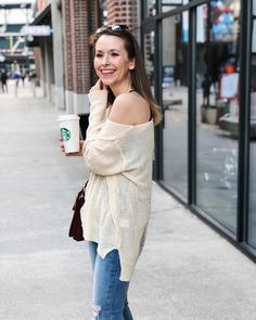 She Does Fashion: Getting The Coffee  denim, distressed, heels, asos, Chloe, Faye, plum purple, #chloefaye, distressed sweater, layering, autumn, fall, spring, winter, luxury, vici, vicidolls, horn necklace, Sephora, dolce Gabbana, Starbucks, coffee, latte macchiato, #butfirstcoffee