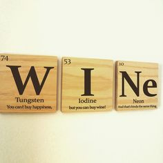Teacher gift periodic table of elements teacher with periodic table of elements wine wooden tile wall art with quote urtaz Choice Image