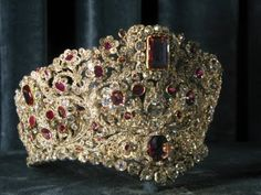 Gold and ruby tiara; originally part of the Russian crown jewels.