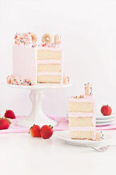 Strawberry Buttermilk Doughnut Cake via Sprinkles for Breakfast on LaurenConrad.com