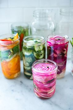 Quick Pickled Vegetables- Beets, peppers, radishes, beans, fennel- a simple recipe for refrigerator pickles to help extend summer's bounty far into fall.