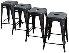 Buschman Set of Four Antique Black 24 Inches Counter Height Metal Bar Stools, Indoor/Outdoor, Stackable Industrial Bar Stools, Metal Bar Stools, Patio Bar Stools, Restaurant Patio, Bistro Chairs, Home Office Furniture, Space Saving, Indoor Outdoor, Counter