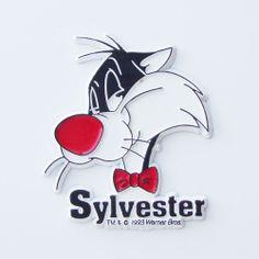 Vintage 90s Warner Bros Looney Tunes SYLVESTER Rubber Fridge Magnet