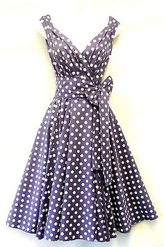 New Spot Pin up Vintage1950s style soft Purple Polka Dot Summer Swing Tea Dress. Or purple lol
