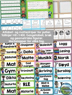 Packs with labels and desk strips for Norwegian learners. Included in this pack of designs: → Name tags → Math strips → Alphabet strips → Subjects → Items labels → Calendar → Weather Classroom Activities, Classroom Organization, Classroom Decor, Teaching Tools, Teaching Resources, Teaching Ideas, Subject Labels, Work Calendar, Sixth Grade