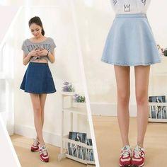 2014 Short Denim Skirt High Waist Sexy Womens Modest Jeans Tight Fitted Flared Dress