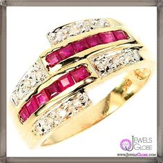 BIG gold real diamond and ruby ring