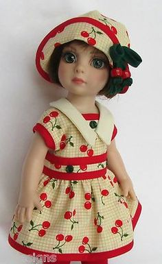 """""""Patsy"""" - A cheery cherry delight in this Cherry-Print Dress Dress & Hat, & Knit Tights Ensemble. Put together with care at the SSDESIGNS Children's Boutique."""