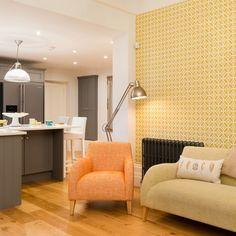 Interior Trends for 2016 - Layla wallpaper, Hepburn chair in tangerine, Hepburn sofa in lime, Osaka floor lamp, Harlequin limosa cushion in stone & linen, All brewershome.co.uk