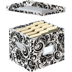 Snap-N-Store® Letter-Size File Box - Black/White Scroll Pattern