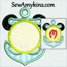 SewAmykins - Mickey Mouse Anchor applique border machine embroidery sea rope frame for name or monogram initials, 3 sizes, $4.00 (http://www.sewamykins.com/mickey-mouse-anchor-applique-border-machine-embroidery-sea-rope-frame-for-name-or-monogram-initials-3-sizes/)