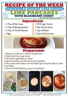 Good morning everyone!  These Lime & Blueberry Pancakes are DELICIOUS, it's like having a nice and filling dessert. The trick is topping them with the Walden Farms Blueberry Syrup. Give this a try and you will fall in love with them!