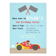 Racing Car Theme, Birthday Party for the Boys Card