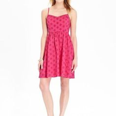 Old Navy Pink Eyelet Sundress Flattering and comfortable retro style sundress. Soft lightweight cotton, perfect for summer! Old Navy Dresses Midi