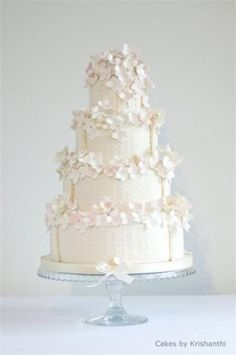 Beautiful Decorated White Hydrangeas Wedding Cake...dainty!
