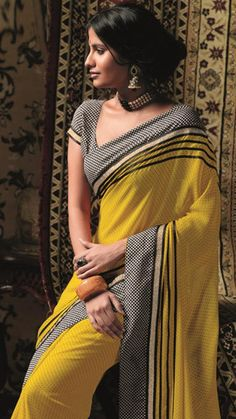 Yellow Colour Chiffon Material Casual Sarees : Radhe Collection - YF-11615