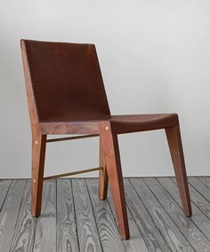 Lincoln Side or Dining Chair by Asher Israelow in Walnut, Leather and Brass 2