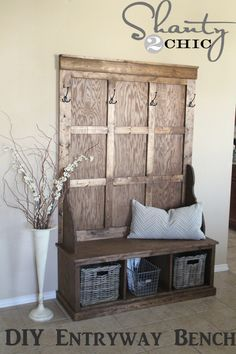 DIY Hall Tree Bench. I like this idea but instead of using it as a bench will probably use it to store shoes underneath and on top.