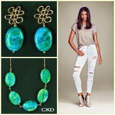 Colar e brincos com Jaspe Green Blue! www.ckdsemijoias.com.br