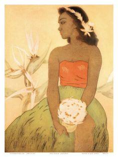 Hula Dancer, Royal Hawaiian Hotel Menu Cover c.1950s Prints by John Kelly at AllPosters.com
