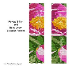 This bracelet pattern is for loom weaving and even count single peyote stitch, using a Delica 11/0 seed bead palette. There are 10 colors. Rendering of worked up piece, large bead graph, bead legend and word chart included. Finished beading measures 1.28 x 6.8, without a clasp