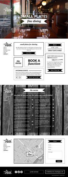 Website Design for The Alex Restaurant : Robyn Larsen