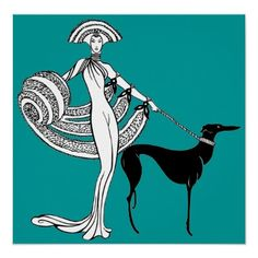 Vintage Art Deco Diva, Woman with Greyhound Dog Poster from Zazzle.com