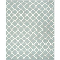 Hand-Woven Moroccan Dhurrie Geometric Blue Wool Rug (8' x 10') | Overstock.com Shopping - Great Deals on Safavieh 7x9 - 10x14 Rugs