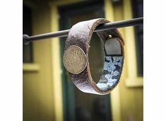Check out antique solid silver Persian button on a  handmade leather wrist cuff on handmadebychloed