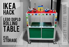 Thrifty Travel Mama | Ikea Hack: Lego Duplo Building Table with Storage Made From Ikea Expedit Shelving
