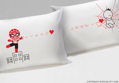 Captured by Your Love™ His & Hers Couple Pillowcases,Husband Gift,Boyfriend Gift,Spiderman Gift,Valentines Gift for Him,Fiancé Gift